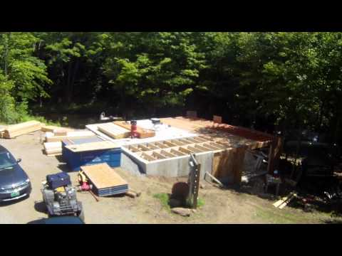 First floor subfloor and Waterproofing - 23 - My Garage Build HD Time Lapse