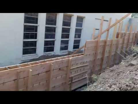 Veterans concrete,..retaining wall form work progress