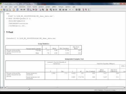 SPSS Tutorials: Independent Samples t-Test for the Differenence Between Group Means