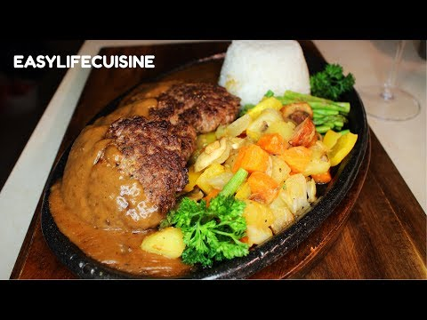 Sizzling Burger steak with Homemade Gravy/How to make/with vegetables/by: easy life cuisine