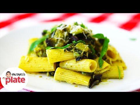 VEGETARIAN PASTA RECIPE | Zucchini & Eggplant (Aubergine) Recipes | Vegan Pesto Pasta