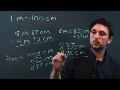 How to Add & Subtract Compound Meters & Centimeters : Measurement Conversions