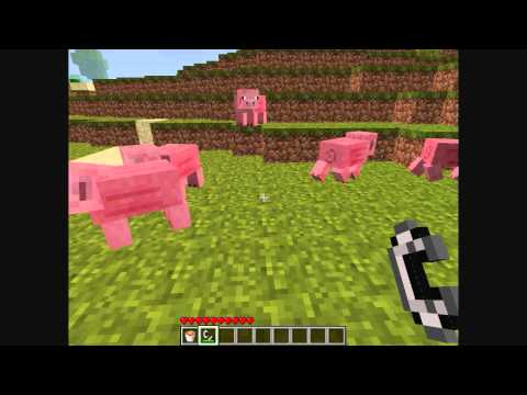 How to get cooked porkchops from live pigs - Minecraft
