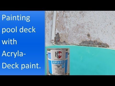 Applying H&C Acryla Deck with cool feel technology paint to a concrete pool deck.