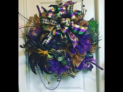 How to make an Deco Mesh Mardigras Wreath