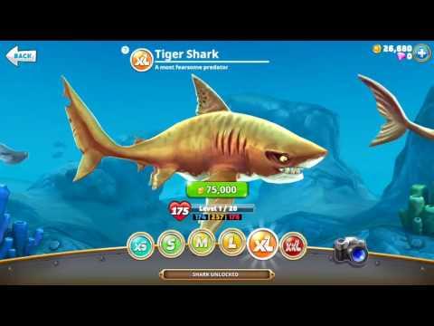 MEGAMOUTH , GREAT HAMMERHEAD , TIGER (XL SHARKS UNLOCKED) - Hungry Shark World