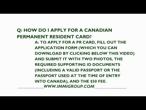 How To Apply For A Canadian Permanent Resident Card