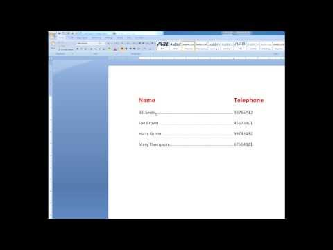 Use tab markers in Word and create leader dots