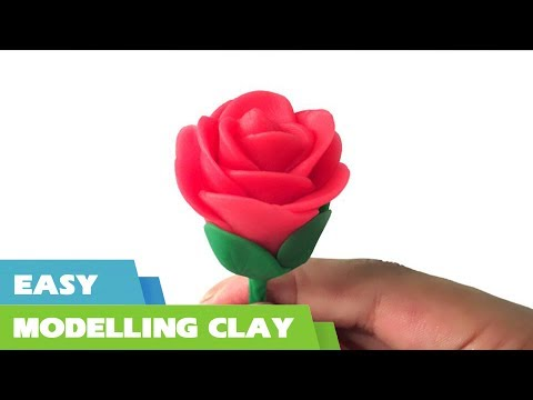 How to make a clay rose flower tutorial - Quick and easy clay modelling for kids - Clay flowers