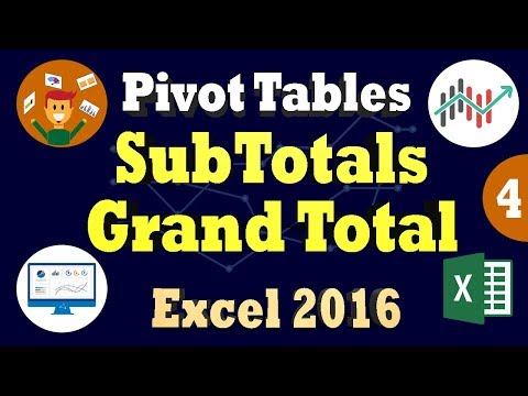 Subtotals and Grand Totals in Pivot Table Using Excel 2016 - Change Data Field Summary Operations