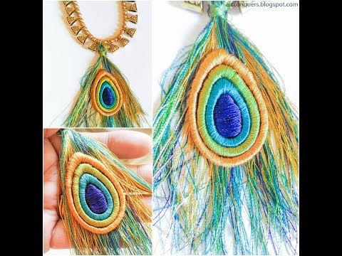 Peacock Feather Pendant |Silk Thread Jewelry Pendant |DIY Pendant |Quilling Pendant |Tassel Pendant