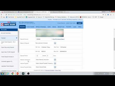 How to open Fixed Deposit account in HDFC Bank (Netbanking)