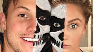 COUPLES HALLOWEEN SKULL MAKEUP!!! | Shawn + Andrew