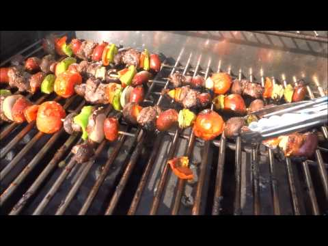 shish kabob on a skewer grilled outside