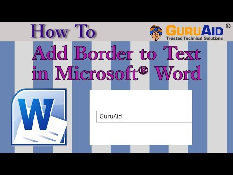 How to Add Border to Text in Microsoft® Word - GuruAid