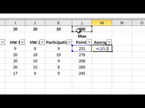 Excel gradebook for teacher who grades by points