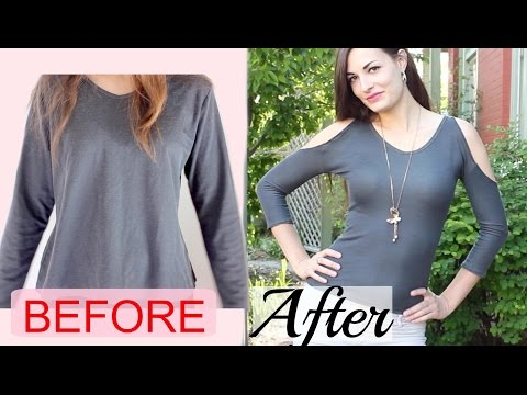 How to Make a Sexy Cold Shoulder Top from a Baggy Shirt- Upcycled DIY