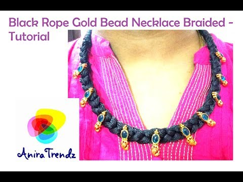 Trendy Black Rope Braided Necklace with kolhapur bead Tutorial | Gold bead | Tutorial DIY
