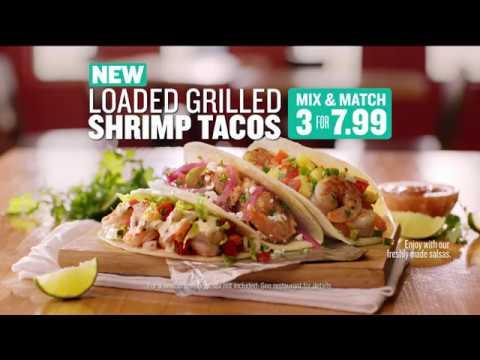 NEW Loaded Grilled Shrimp Tacos at Taco Cabana