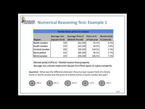 Numerical Reasoning Test tutorial - deriving values from data table