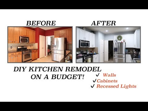 DIY KITCHEN REMODEL   UPDATING OUR KITCHEN ON A BUDGET   WALLS, KITCHEN CABINETS,  RECESSED LIGHTS