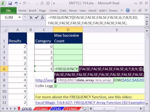 Excel Magic Trick 713: Count Max Number In Succession in Column FREQUENCY function magic!