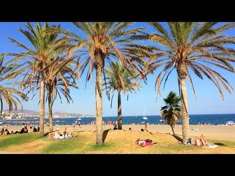 MÁLAGA WALK   Málaga Beach from Marina Seawall   Spain