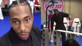 Kawhi Leonard Chops Wooden Boards in Karate Class...WTF LOL