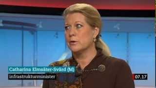 Gustav Fridolin (MP) och Catharina Elmsäter-Svärd (M) debatterar tågkaoset i sthlm i november 2013