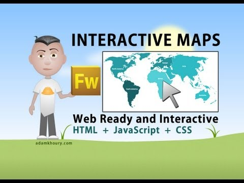Interactive World Map Tutorial HTML JavaScript PHP Fireworks Continent Country