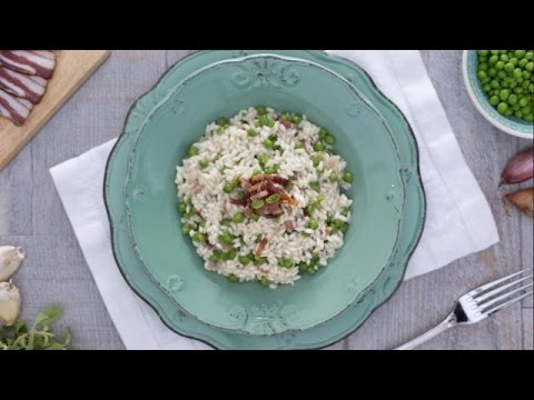 Pea bacon and marjoram risotto - recipe