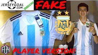 04 54 · Fake ARGENTINA 2018 World Cup Jersey unboxing⚽🔥Home kit ... 70d5b9828