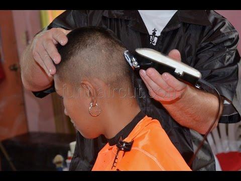 Barbershop girl military hair cut