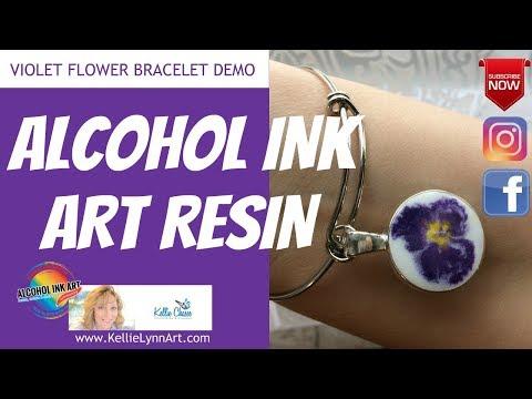 Alcohol Ink Art Techniques for Resin Jewelry  Making - Violet Flower Bracelet