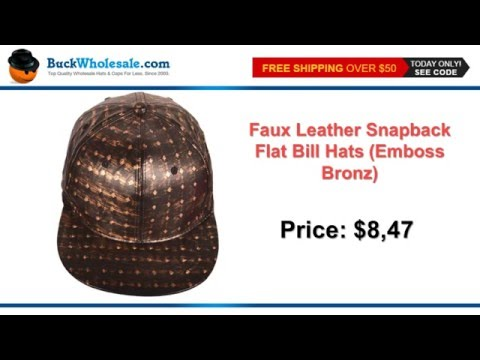 Faux Leather Snapback Flat Bill Hats (Emboss Bronz)