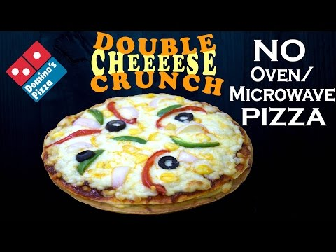 Make Double Cheese Crunch Pizza like Domino's in the pan, without Oven/ Microwave at home