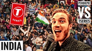 PewDiePie visits INDIA to cross T-Series | Pewdiepie vs Tseries