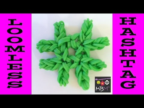 Loomless # Hashtag Number Sign Charm Made Using Rainbow Loom Bands