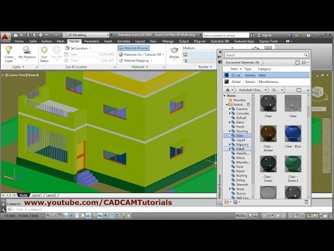 AutoCAD Material and Rendering Tutorial | AutoCAD 3D House Modeling Tutorial Beginner Basic - 7