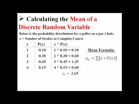 Mean and Expected Value of Discrete Random Variables