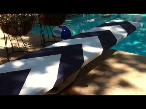 How to paint a chevron stripe with homemade chalk paint on a diving board