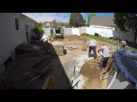 How We Build & Install A Back Patio and Seat Wall 2016