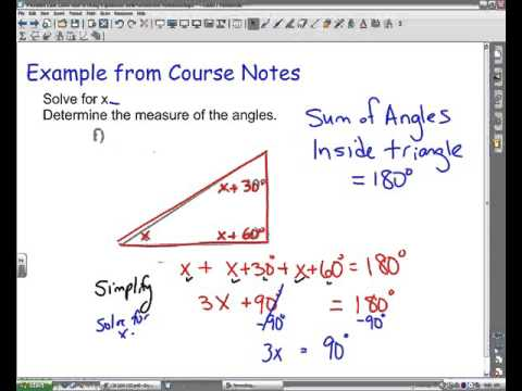 Using Sum of Angles in A Triangle to Write and Solve an Equation