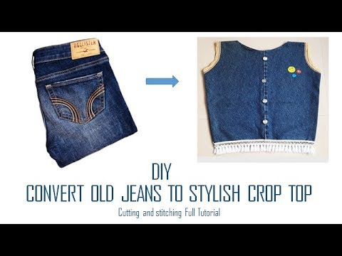 DIY Convert Old jeans to Stylish Crop Top cutting and stitching Full Tutorial