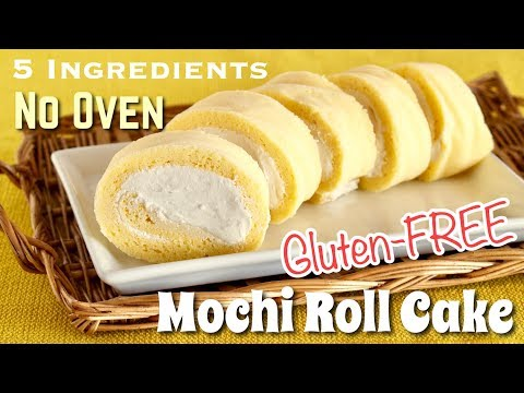 How to Make Mochi Roll Cake (NO OVEN / Dairy-FREE/ Gluten-FREE / 5 Ingredients Recipe) | OCHIKERON