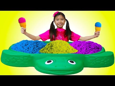 Xxx Mp4 Wendy Pretend Play Learn Colors With Kinetic Sand Rainbow Ice Cream Kid Toys 3gp Sex