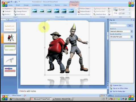 MS Powerpoint 2007 Tutorial in Hindi - Insert Picture, Clip Art, Chart etc