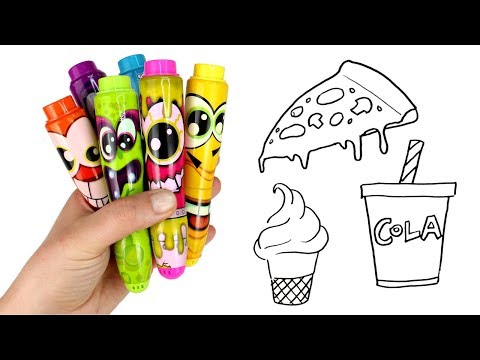 Drawing & Coloring with Scentos Markers Pizza Ice Cream Hamburger Squishy Food Surprise toys Opening