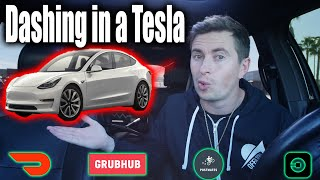 What its like to Deliver in Tesla Model 3 - Doordash Postmates Grubhub Ubereats Money Tips \u0026 Tricks