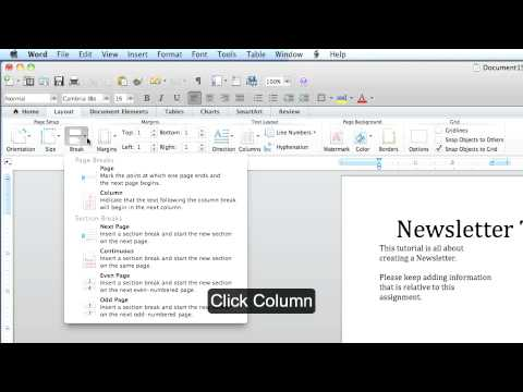 Microsoft Office Word MAC: Creating a Newsletter